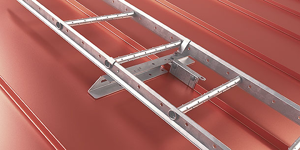 Standing seam mount roof ladders