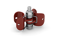 Hinge set pipe 34 mm (Lacquered in red (RAL 3009)) - RGJ3400